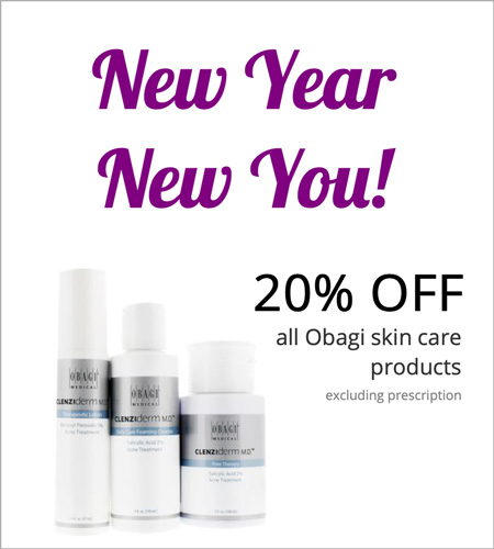 New Year, New You. Obagi Skin Care products 20% OFF. Excluding Prescription.