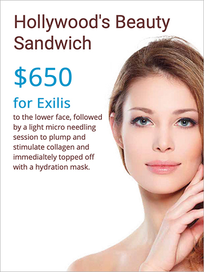 $650 for Exilis to the lower face, followed by a light micro needling session to plump and stimulate collagen and immediately topped off with a hydration mask.